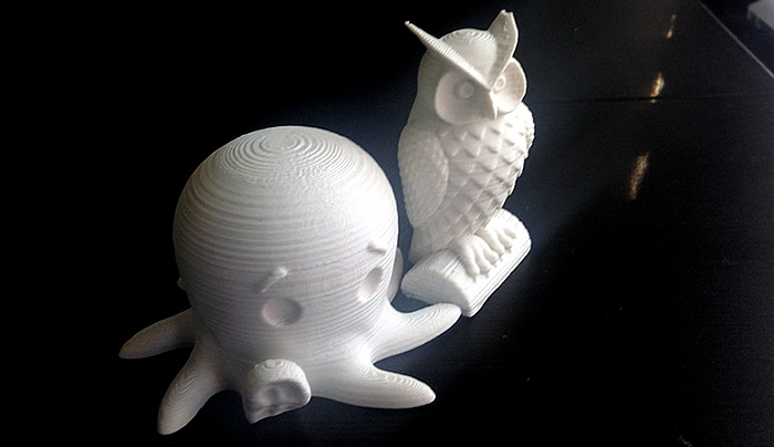 3d printed octopus and owl